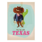 Fly By Air - Texas vacation poster