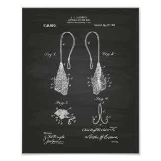 Fly Fish Hook 1909 Patent Art  Chalkboard Poster