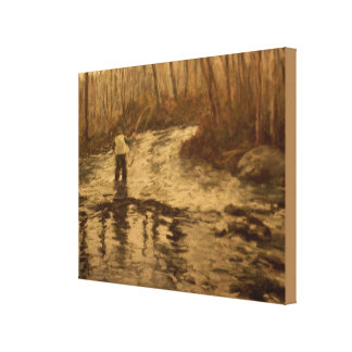 Fly Fisherman 11x14 Stretched Canvas Print