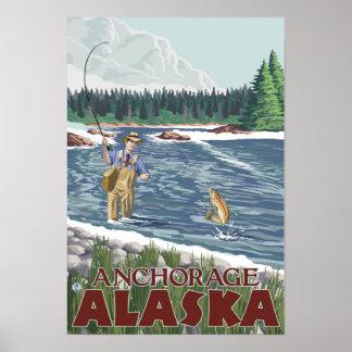 Fly Fisherman - Anchorage, Alaska Posters