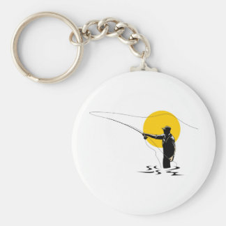 Fly fisherman casting reel with fishing lure bait basic round button key ring