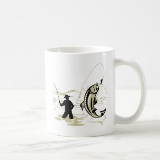 Fly fisherman casting reel with fishing lure bait coffee mug