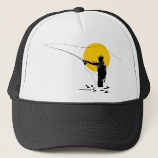 Fly fisherman casting reel with fishing lure bait trucker hat