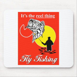 Fly fisherman catching largemouth bass fly reel mouse pad