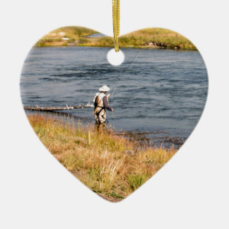 Fly Fisherman Ceramic Heart Decoration
