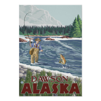 Fly Fisherman - Dawson, Alaska Posters
