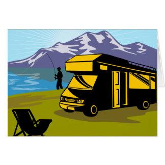 Fly fisherman fishing mountains camper van greeting cards