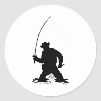 fly fisherman fishing silhouette stickers