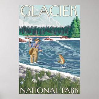 Fly Fisherman - Glacier National Park, MT Poster