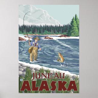 Fly Fisherman - Juneau, Alaska Poster