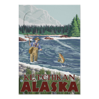 Fly Fisherman - Ketchikan, Alaska Poster