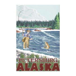 Fly Fisherman - Petersburg, Alaska Stretched Canvas Print
