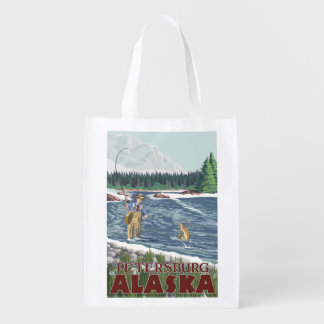 Fly Fisherman - Petersburg, Alaska Reusable Grocery Bag