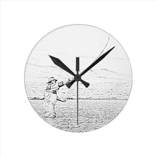 fly fisherman round clock