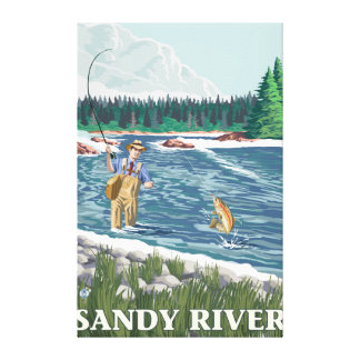 Fly Fisherman - Sandy River, Oregon Gallery Wrapped Canvas