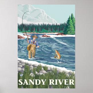 Fly Fisherman - Sandy River, Oregon Posters