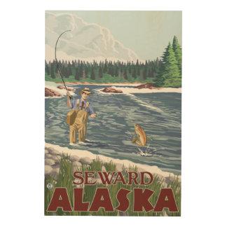 Fly Fisherman - Seward, Alaska Wood Canvases