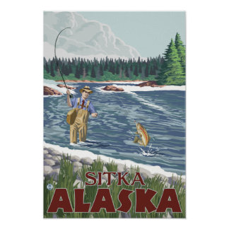 Fly Fisherman - Sitka, Alaska Poster