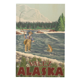 Fly Fisherman - Valdez, Alaska Wood Canvas