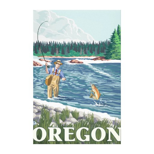 Fly Fisherman- Vintage Travel Poster Gallery Wrapped Canvas