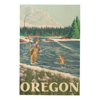 Fly Fisherman- Vintage Travel Poster Wood Canvases
