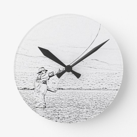fly fisherman wall clocks