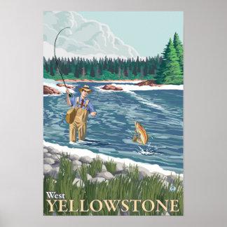 Fly Fisherman - West Yellowstone, Montana Poster