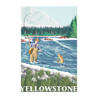 Fly Fisherman - Yellowstone National Park Stretched Canvas Prints