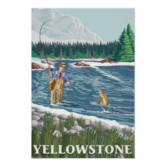 Fly Fisherman - Yellowstone National Park Posters