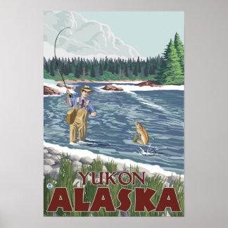 Fly Fisherman - Yukon, Alaska Poster