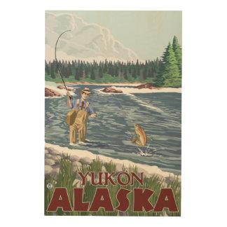 Fly Fisherman - Yukon, Alaska Wood Print