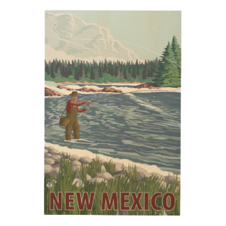 Fly FishermanNew Mexico Wood Print