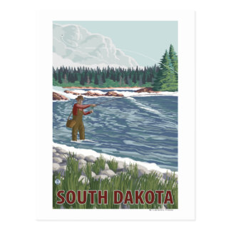 Fly FishermanSouth Dakota Postcard