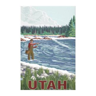 Fly FishermanUtah Stretched Canvas Print