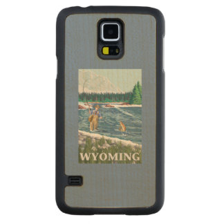 Fly FishermanWyomingVintage Travel Poster Maple Galaxy S5 Case