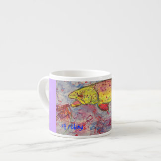 fly fishing art espresso mug