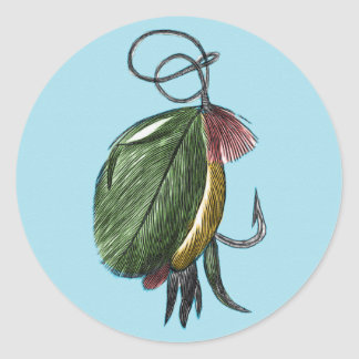 Fly Fishing Art Round Stickers