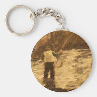 Fly Fishing Basic Round Button Key Ring