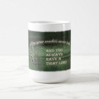 Fly fishing dark texture waders tight line coffee mug