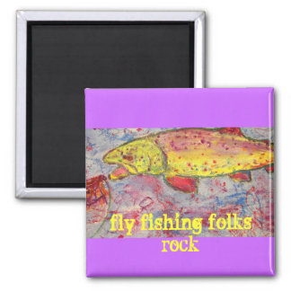 fly fishing folks rock square magnet