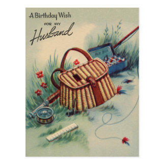 Fly Fishing | Husband Birthday Vintage Postcard