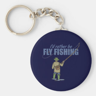 Fly Fishing in Waders Basic Round Button Key Ring