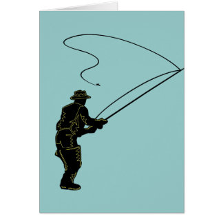 Fly Fishing in Waders Greeting Card