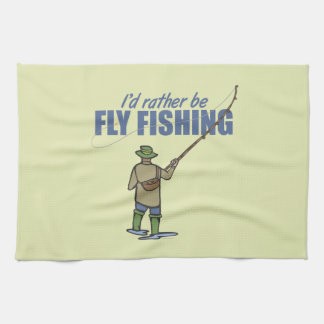 Fly Fishing in Waders Kitchen Towels