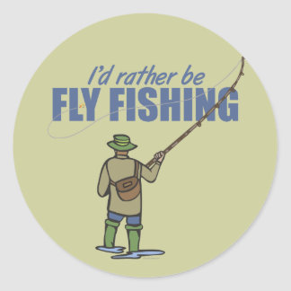 Fly Fishing in Waders Round Sticker