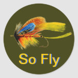 Fly Fishing Lure - So Fly Round Stickers