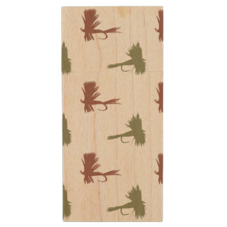 Fly Fishing Lures Pattern Wood USB Flash Drive