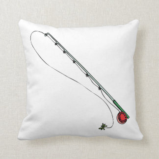 Fly Fishing Pole Throw Pillow