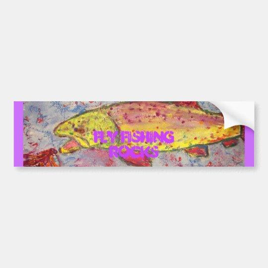 fly fishing rocks art bumper sticker