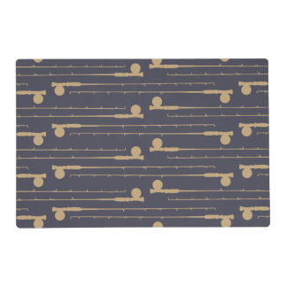 Fly Fishing Rods Pattern Laminated Place Mat